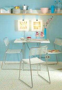 turquoise, white, light wood