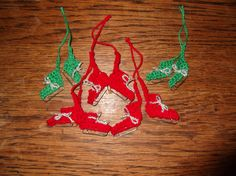 Schaatsjes gehaakt voor op de kerstkaart