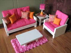 """Pink doll furniture for 18"""" American Girl...probably too big for dollhouse but nicely done """"modern"""""""