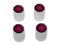 Atomic Symbol Pink - Tire Rim Wheel Valve Stem Caps-Pink Car Accessories | Girly Car Accessories