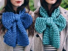 Louisa - A Knitted Chunky Bow Scarf. $25.00, via Etsy.