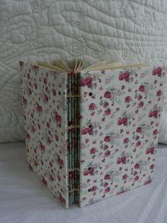 Pink Rose Calico Small Coptic Blank Journal Aqua. $8.00, via Etsy.