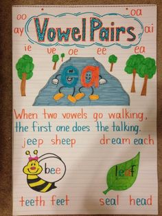 Anchor charts for teaching phonics- I love the vowel team poster!