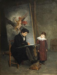 "Louis Edouard Rioult:  ""L'atelier du peintre"", 1824, oil on canvas,  Cherbourg-Octeville ; musée Thomas Henry."