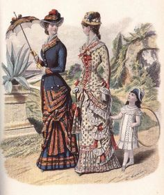 The era bustle. Daytime dresses, about 1880