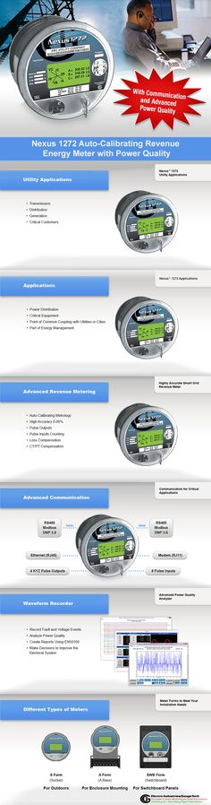 Through Out with Nexus 1272 Auto-Calibrating Revenue Energy Power Meter Electro Industries/GaugeTech offers Revenue Energy Power Meter and the revolutionary performance and functionality of the Nexus 1252 meter in a socket based revenue meter. These are main features of Nexus 1272 Auto-Calibrating Revenue Energy Power Meter