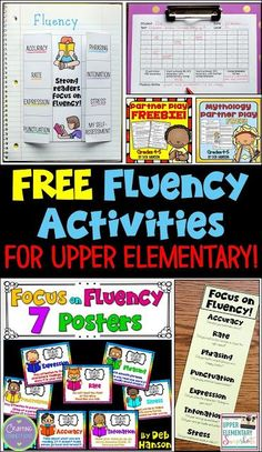 Focusing on Fluency in the Upper Elementary Classroom Activities to help build reading fluency in your upper elementary classroom! Multiple FREE printables, including posters, bookmarks, partner plays, and more! Reading Fluency Activities, Teaching Reading, Guided Reading, Reading Strategies, Reading Art, Teaching Ideas, 4th Grade Reading Games, Ell Strategies, Reading Aloud
