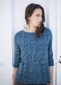 Free knitting pattern for cable pullover sweater knit top down designed by Norah Gaughan