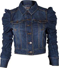 Puff sleeves denim jacket