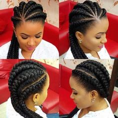 Protective cornrows to Style your hair with. See different cornrows styles. Protective hair styles tuck away the ends of your hair in sight Big Cornrows Hairstyles, Braids Hairstyles Pictures, African Hairstyles, Hair Pictures, Hairstyles 2018, Black Hairstyles, Protective Hairstyles, Simple Hairstyles, Protective Styles