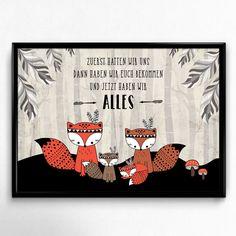 Fuchs Familie Haben Wir Alles Kunstdruck A4 Spruch Tiere Bild Druck Kinderzimmer
