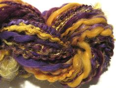 handspun sparkly art yarn Royale 72 yards by SpinningWheelStudio