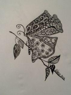 Zen tangle butterfly