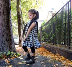 Autumn dress tartan black and white for kids - www.momeme.it