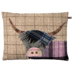 Highland Cow Cushion shown in Camel