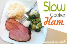 Easy Slow Cooker Ham Recipe  http://second-stars.com/slow-cooker-ham/