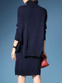 Knitted Cashmere Slit Sweater Dress