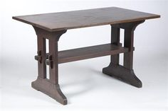 Gustav Stickley, New York, Arts & Crafts Table, early 20th century, oak, stretcher base, 29 H. x 48 W. x 29.5 D.