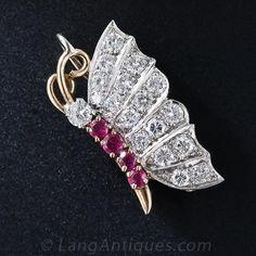 Diamond & Ruby Butterfly Pin