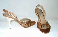 Via Spiga Sparkling Bronze Metallic Leather Strappy Sky High Sandals Shoes 7.5M #ViaSpiga #Strappy