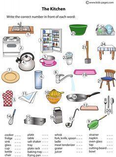 Ficha de vocabulario para repasar los utensilios de cocina en inglés / Kitchen…