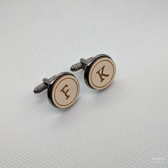 DEER & INITIAL wooden engraved cufflinks - with three font choices ...