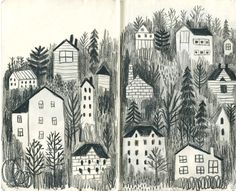 CREATIVITY CLUB You can make beautiful drawings with a simple naive style. This is by JooHee Yoon. The buildings are nestled within the darkness of trees, evenly spaced and yet each house is a little different creating a pattern within the image. Moleskine, Art And Illustration, Sketchbook Inspiration, Art Sketchbook, Joohee Yoon, Beautiful Drawings, Art Inspo, Illustrators, Graffiti