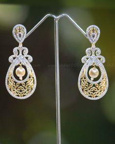 Elegant AD & Pearl Earrings – India1001.com