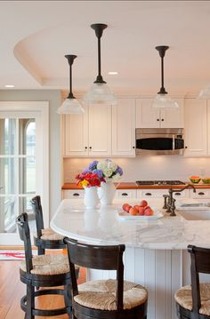 """White Kitchen Cabinet Paint Color: """"Benjamin Moore White Dove OC-17″ The wall color is Benjamin Moore Gray Wisp 1570 Flat.Coastal Family Home"""