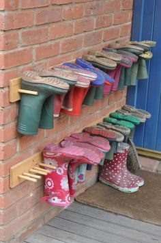 mud boot storage... space saving and keeps the rain and critters out. Great idea, I hate finding a spider in my boot. Or if they sit for a while bird seed deposited by friendly field mice...