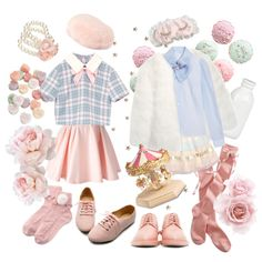 A fashion look from December 2015 featuring blue shirt, chiffon blouses and white jacket. Browse and shop related looks. Pastel Goth Fashion, Kawaii Fashion, Lolita Fashion, Cute Fashion, Fashion Styles, Cute Casual Outfits, Girl Outfits, Fashion Outfits, Aesthetic Fashion