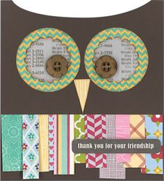 Assorted strips of patterned paper are neatly overlapped to create faux feathers on this very creative and dollar-wise card. It provides the perfect opportunity for you to fly into that leftover stash of paper scraps, stickers, and buttons that every paper crafter has on hand.