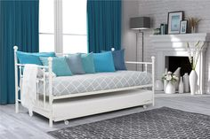 Do you need extra sleeping space? Do your kids love sleepovers? Then this Manila daybed with handy pull-out trundle is perfect for your home. The linear Victorian design with rounded finials gives any room a spark of style that's both modern and timeless. Choose from white or bronze finish to suit your décor and add a touch of sophistication to any room. The simple yet elegant metal frame is sturdy and comes with metal slats for extra support and ensures air moves freely around your…