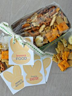 """Fun Easter gift idea- """"Bunny Food"""" with cute printable tags 