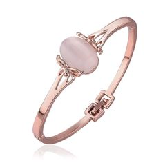 Women's Rose Gold Plated White Imitation Pearl Trendy Round Bangle