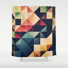 ynryst Shower Curtain by Spires on Society6 @society6 #society6 #products #design #shop #shopping #buy #sale #fun #gift #idea #accessory #accessories #home #decor #style #fashion #art #digital #contemporary #cool #hip #awesome #awesomeness #chic #shower #curtain #red #yellow #blue #black #orange #beige #geometric #triangles