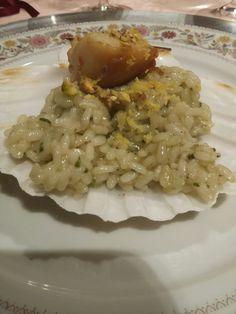 Riso  Rosa Marchetti, capasanta con pistacchio di Bronte e spruzzata di limone