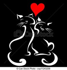 Vector - Happy cats in love - stock illustration, royalty free illustrations, stock clip art icon, stock clipart icons, logo, line art, EPS picture, pictures, graphic, graphics, drawing, drawings, vector image, artwork, EPS vector art