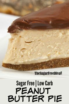 This is the perfect pie for desserts or for a snack. This is the recipe for a great looking and tasting Sugar Free Peanut Butter Pie Low Carb Granola, Sugar Free Deserts, Sugar Free Recipes, Keto Recipes, Pie Crust Recipes, Diabetic Dessert Recipes, Diabetic Cake, Sugar Free Snacks, Diabetic Foods
