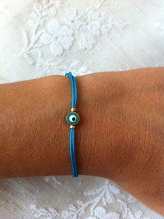 Blue String Evil Eye Bracelet Friendship by santorinijewellery