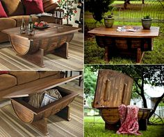 Recycle a Wine Barrel into an Amazing Coffee Table - http://www.amazinginteriordesign.com/recycle-wine-barrel-amazing-coffee-table/