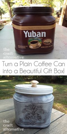 How to Make a Gift Box Using a Plastic Coffee Can We love to drink coffee - especially a certain brand in a plastic container. I also have a habit of hoarding those containers. I thought they would. What a nice transformation! Plastic Coffee Cans, Plastic Coffee Containers, Plastic Container Crafts, Recycling Containers, Plastic Bottles, Plastic Items, Storage Containers, Coffee Can Crafts, Coffee Can Diy Projects