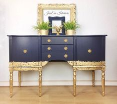 Sold Sold can be sourced. Gold Furniture, Hand Painted Furniture, Paint Furniture, Repurposed Furniture, Furniture Makeover, Painted Sideboard, Vintage Sideboard, Painted Buffet, Side Board