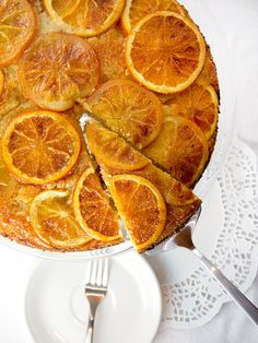 Orange Vanilla Upside Down Cake: The almond flour gives it a delicious crumb. Tasty and pretty • Perfect for holiday entertaining • Panning The Globe