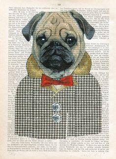 PUG THE DOG mops art print illustration dictionary art giclee print fashion art