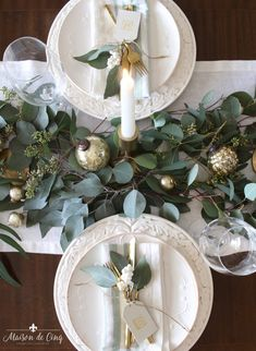 Christmas Table Decorations 37122 green and white christmas tablescape overhead view white plates runner eucalyptus with gold candlesticks and ornaments gorgeous holiday table decor