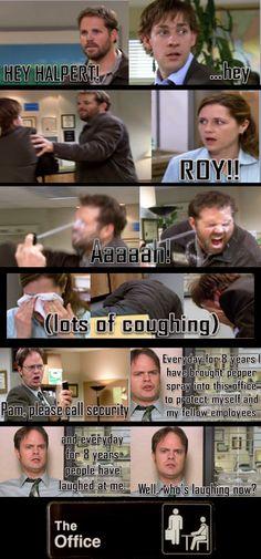 Roy attacks Jim --> Dwight attacks Roy