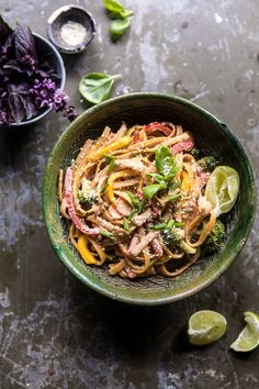 20 Minute Sesame Basil Chicken Noodles - use rice or rice noodles to make it GF