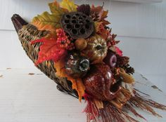 Thanksgiving Cornucopia, Fall Cornucopia, New England Cornucopia, Thanksgiving Centerpiece, Table Decor Thanksgiving Décor by SilvaLiningDesigns on Etsy