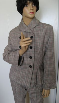 Veste, petits plis, col châle, prince de galles, fils argent. http://www.liseb-creations.com/  lisebcreations@gmail.com